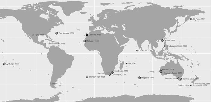 A map of 24 shipwrecks in the period 1500–1900